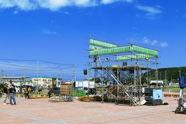 やん衆盆踊り会場設置風景